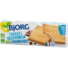 BJORG Biscuits bio fourrés au chocolat au lait, sachets fraîcheur 3x3 biscuits 225g