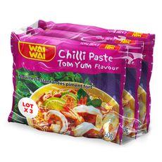 WAI WAI Nouilles asiatiques instantanées saveur piment fort 3X60g