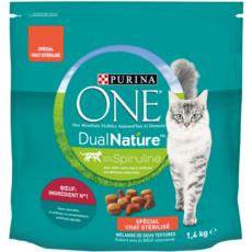 PURINA One dual nature croquettes au boeuf pour chat stérilisé 1,4kg