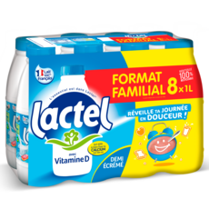 LACTEL Lait demi-écrémé enrichi en vitamine D stérilisé UHT 8x1l