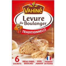 VAHINE Levure du boulanger traditionnelle 6 sachets 6x8g