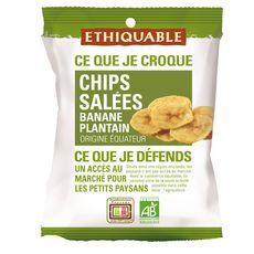 ETHIQUABLE Chips salées de banane plantain origine Equateur bio 85g