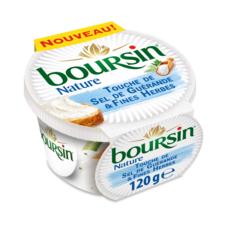 Boursin BOURSIN Fromage à tartiner nature touche de sel de Guérande et fines herbes