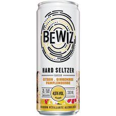 BEWIZ Boisson pétillante alcoolisée 4,5% citron gingembre pamplemousse sans gluten boîte 33cl