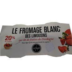 LES FAYES Fromage blanc des Limousins sur lit de fraises de Dordogne 40%MG 4x125g