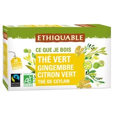 ETHIQUABLE Thé vert bio gingembre citron vert 20 sachets 36g