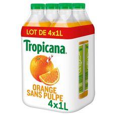 TROPICANA Jus pure premium 100% orange sans pulpe 4x1l