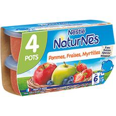 NATURNES Petits pots dessert pommes fraises myrtilles  4x130g