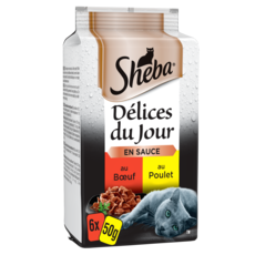 SHEBA Délices du jour sachets repas pâtée en sauce viandes pour chat 6x50g