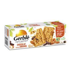 GERBLE Biscuit chocolat amande moins de sucres sans huile de palme, sachets fraîcheur 4x4 biscuits 200g