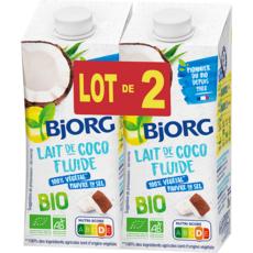 BJORG Lait de coco fluide cuisine bio 2 briquettes 2x200ml