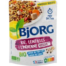 BJORG Riz et lentilles bio veggie à l'indienne en poche 1 personne 220g