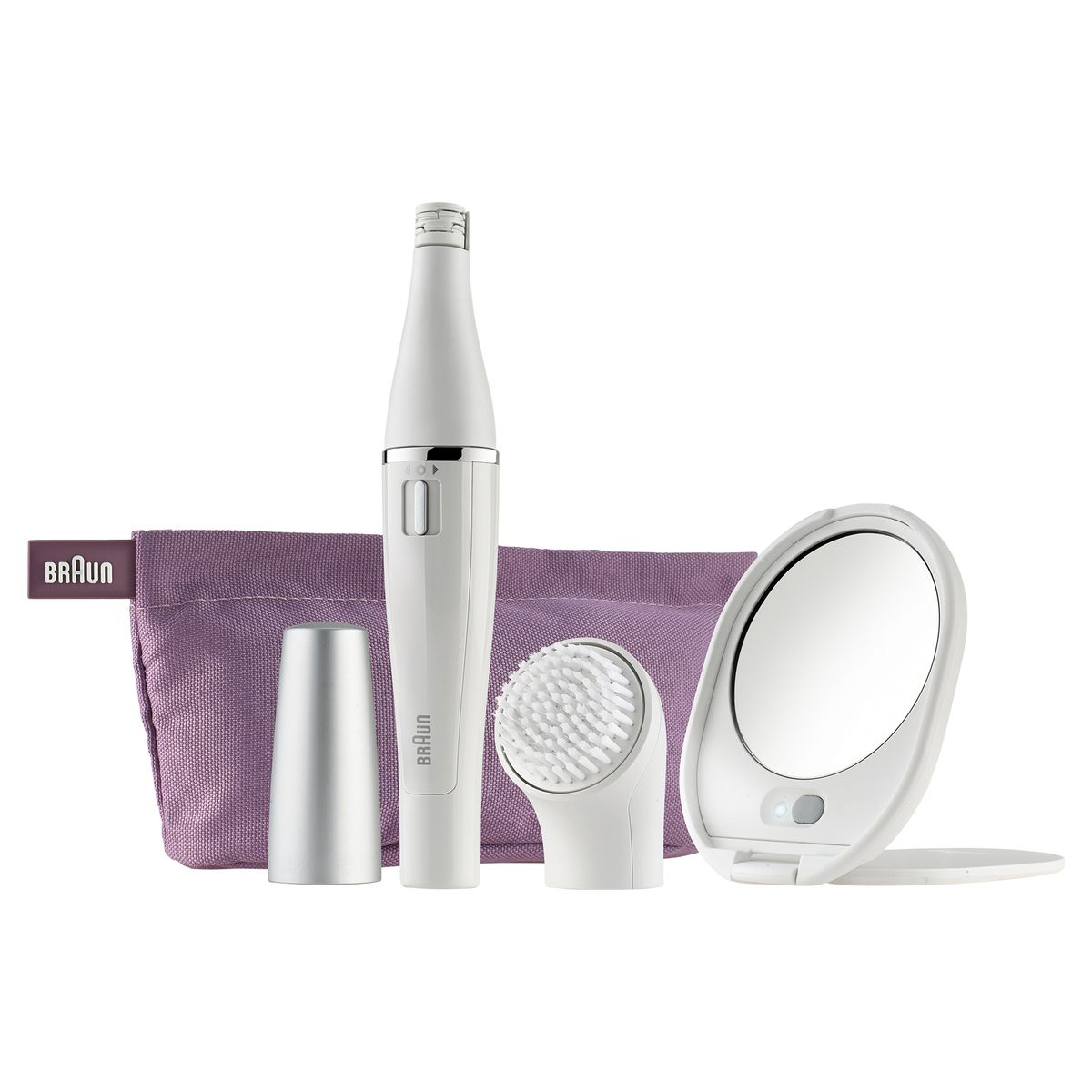 Kit soin du visage FACE SE830 : Epilateur visage + Brosse nettoyante + Miroir lumineux + Trousse + Accessoires