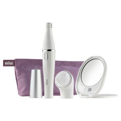 BRAUN Kit soin du visage FACE SE830 : Epilateur visage + Brosse nettoyante + Miroir lumineux + Trousse + Accessoires