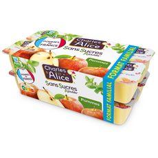 CHARLES & ALICE Spécialité pomme sans sucres ajoutés 16x100g