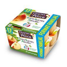 CHARLES & ALICE Spécialité pomme sans sucres ajoutés 8x100g