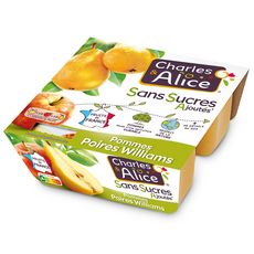 CHARLES & ALICE Spécialité pomme poire sans sucres ajoutés 4x100g