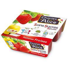 CHARLES & ALICE Spécialité pomme fraise sans sucres ajoutés 4x100g