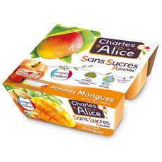 CHARLES & ALICE Spécialité pomme mangue sans sucres ajoutés 4x95g
