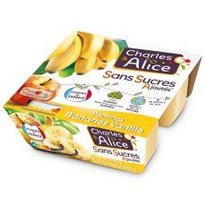 CHARLES & ALICE Spécialité pomme banane vanille sans sucres ajoutés 4x100g