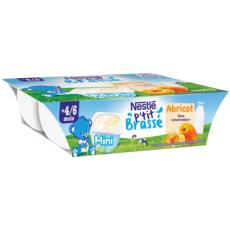 NESTLE P'tit brassé petit pot dessert lacté à l'abricot dès 4 mois 6x60g