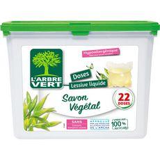 L'ARBRE VERT Lessive capsules Ecolabel au savon végétal 22 lavages 22 capsules