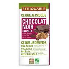 ETHIQUABLE Tablette de chocolat noir bio au quinoa Equateur Côte d'Ivoire 1 pièce 100g