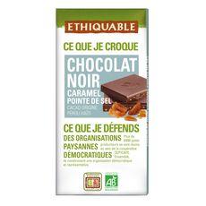 ETHIQUABLE Tablette de chocolat noir bio et caramel à la pointe de sel 1 pièce 100g