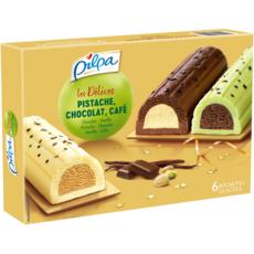 PILPA Bûchette glacée délice de pistache chocolat et café 6 pièces 348g