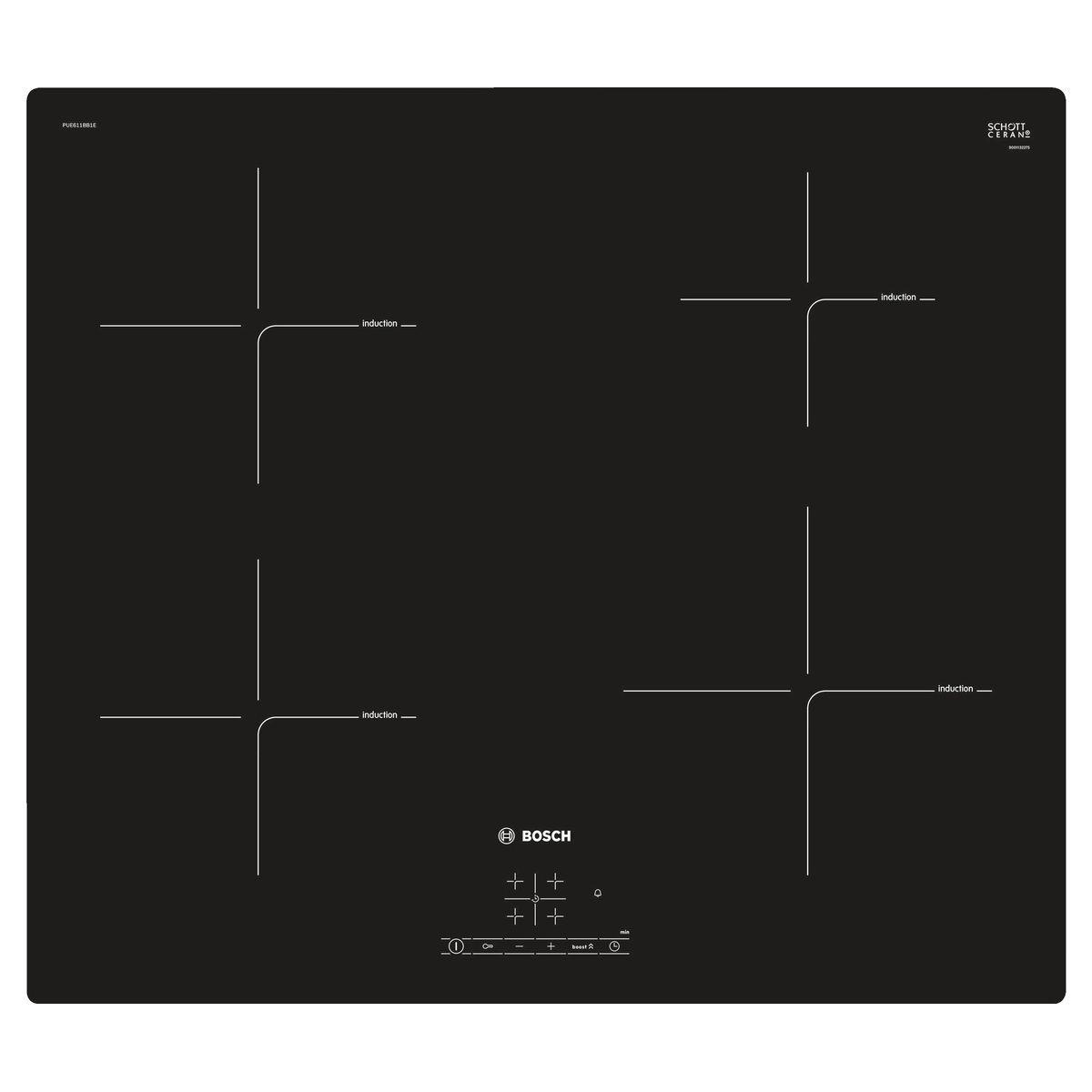 Table de cuisson induction PUE611BB1E, 60 cm, 4 foyers