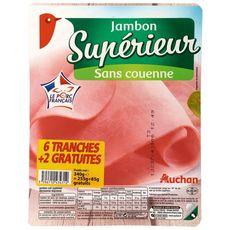 AUCHAN Jambon cuit supérieur -25% de sel 6 tranches +2 offertes 320g