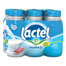 LACTEL Lait demi écrémé avec vitamine D 6x25cl