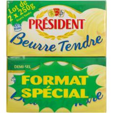 PRESIDENT Beurre tendre demi-sel 2x250g