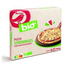 AUCHAN BIO Pizza 3 fromages cuite au feu de bois 380g