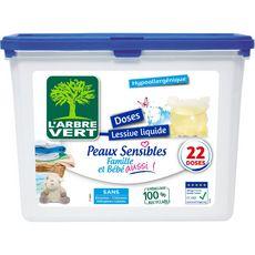 L'ARBRE VERT Lessive capsules peaux sensibles 22 lavages 22 capsules