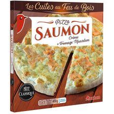AUCHAN Pizza au saumon cuite au feu de bois 400g