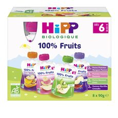 HIPP Gourde dessert aux fruits bio 4 variétés dès 6 mois 8x90g