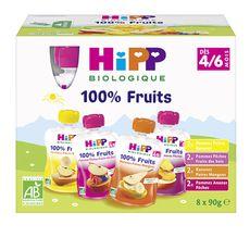 HIPP Gourde dessert aux fruits bio 4 variétés dès 4 mois 8x90g