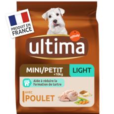ULTIMA Mini light croquettes poulet riz céréales pour chien 1,5kg