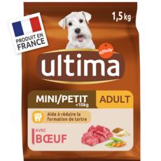 ULTIMA Mini adulte croquettes au boeuf pour chien 1,5kg