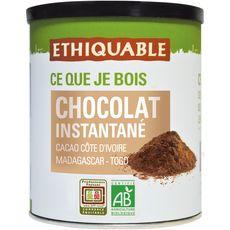 ETHIQUABLE Chocolat en poudre instantané bio équitable pur cacao non sucré 400g