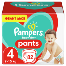 PAMPERS Baby-dry Couches-culottes taille 4 (9-15kg) 82 couches