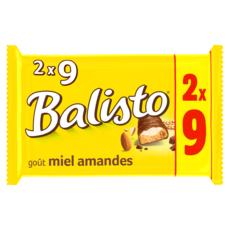 BALISTO Barres chocolatés au miel et amandes 2x9 pièces 333g