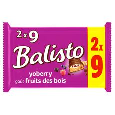 BALISTO Barres chocolatées goût fruits des bois 2x9 barres 333g