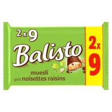 BALISTO Barres chocolatées au muesli, noisettes et raisins 2x9 barres 333g