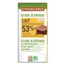 ETHIQUABLE Tablette de chocolat au lait bio de l'Equateur 53% 1 pièce 100g