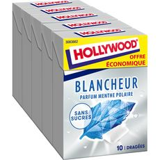 HOLLYWOOD Chewing-gum blancheur menthe polaire 5 paquets 70g