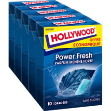 HOLLYWOOD Power Fresh chewing-gum menthe forte  5x10 dragées