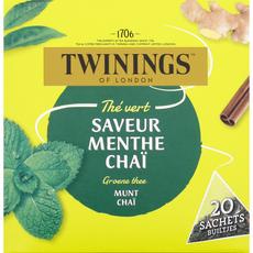 TWININGS Thé vert menthe chaï 20 sachets 32g
