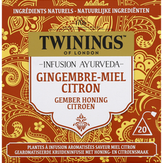 TWININGS Infusion ayurveda gingembre, miel et citron 20 sachets 32g